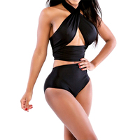 Brand New Mid Waist Nylon Sexy Bandage Push Up Bandeau Bikini Set Bathing Suit Swimwear H1E1