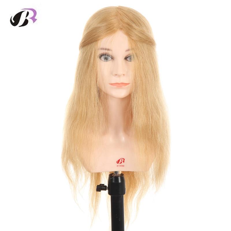 Женские 20 дюймов парикмахер Обучение Манекен головы с 100 реальные человеческие волосы светлые волосы манекен головы с плеча стенд
