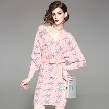 2018 New V neck Women Knitted Dress With Sashes High Quality Full Sleeve Above Knee Mini