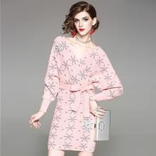 2018 Новый v_neck Для женщин вязаное платье с Пояса высокое качество длинный рукав длиной выше колена мини тонкий модный принт Женское платье