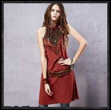Ethnic dress 2016 Girls summer Spain style bohemian hippie sleeveless embroidery dress vestidos travel costumes