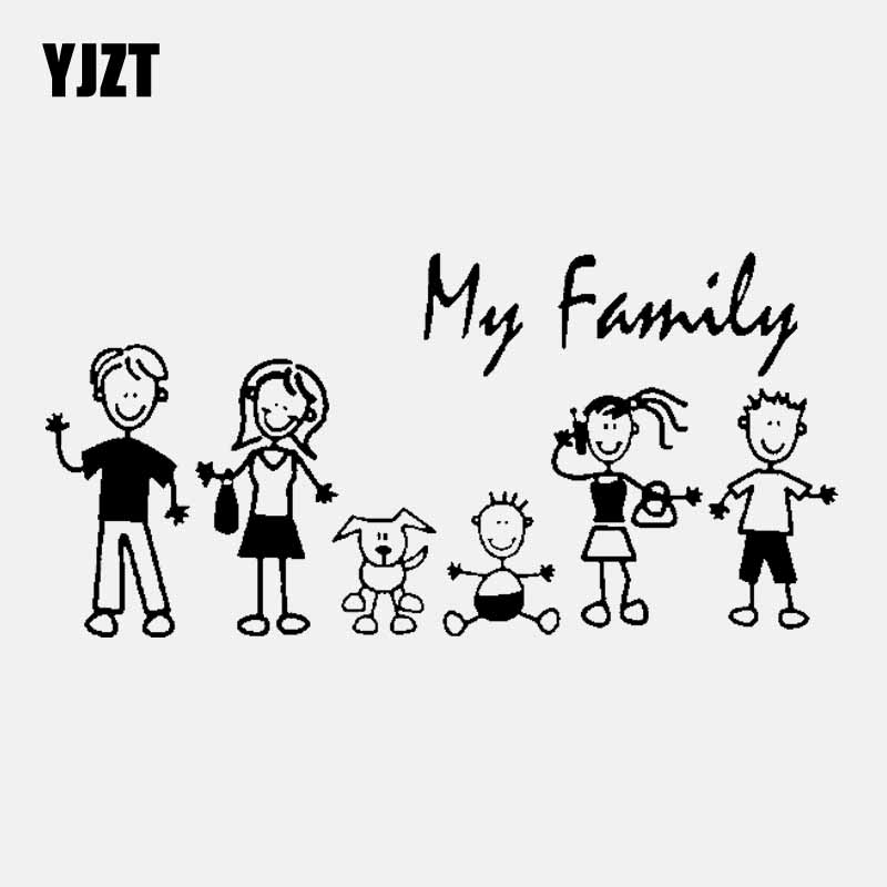 YJZT 20CM* 9.8CM Family Car Sticker Vinyl Decal My Mom Kid Baby Cat Dog Pet Black/Silver C3-2066