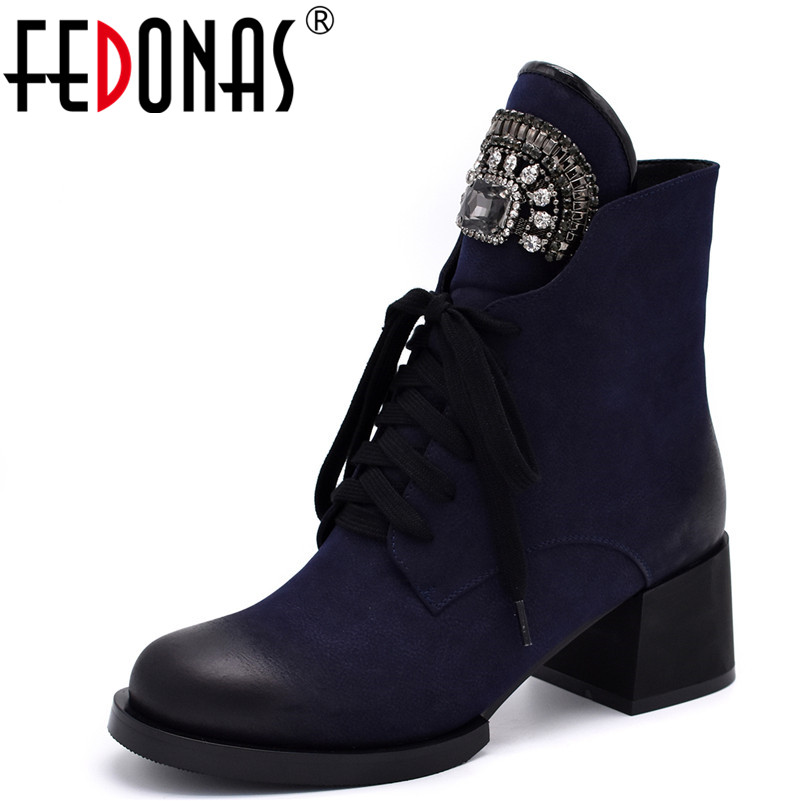 FEDONAS Fashion Hot Women Rhinestone Boots Square Heel Platforms Thigh High Pump Autumn Winter Shoes Woman Motorcycle Boots