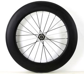 700C 88mm głębokość drogowe węglowe koła 25mm szerokość pojedyncze tylne koła clincher rurowy rower z włókna węglowego koła 3K matowe wykończenie tanie i dobre opinie 88C-C-W1 carbon wheels FANTECY Rowery drogowe V hamulca Glossy Matte 20-24H or 18-21H(only powerway hub can choose Powerway Novatec Chosen DT hub
