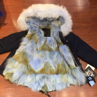 Skyblue coyote fur for ladies winter wear, navy beads fur parka with real fur lined mr mrs down wear coat