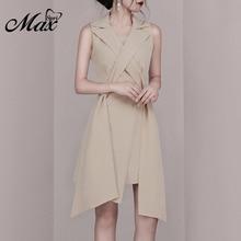 Max Spri 2019 Spring New Fashion Women Sexy V Neck Sleeveless With Sashes Knee-Length Irregular Hemline Office Lady Wrap Dress