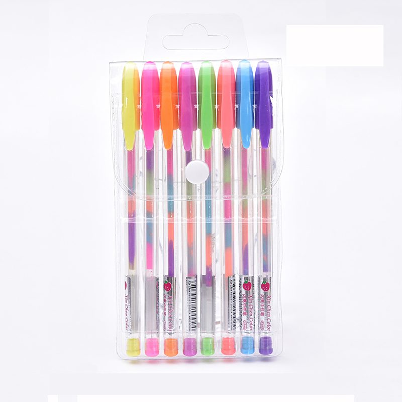 0 8mm Rainbow Pen set Creative Glitter Flash pen Rainbow multicolor refills highlighter Gel Pens for Drawing Graffiti Pen School in Highlighters from Office School Supplies