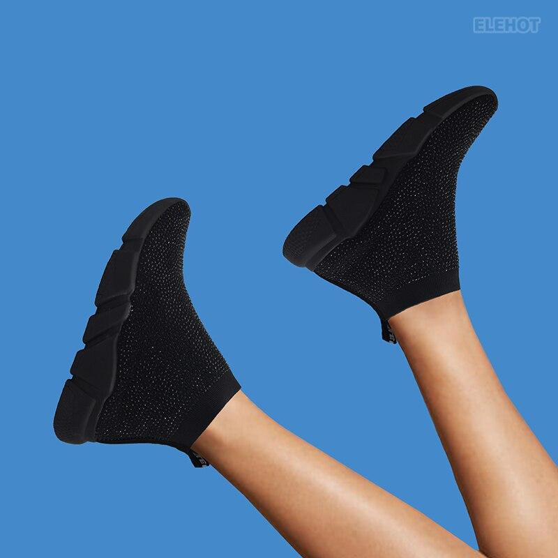 Elehot Black Rhinestone Sneakers
