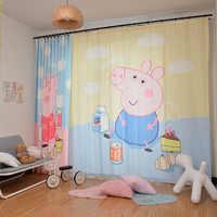 الأطفال المطبوعة الستائر مع الشاش الظل الستائر الحديثة بسيطة للأطفال