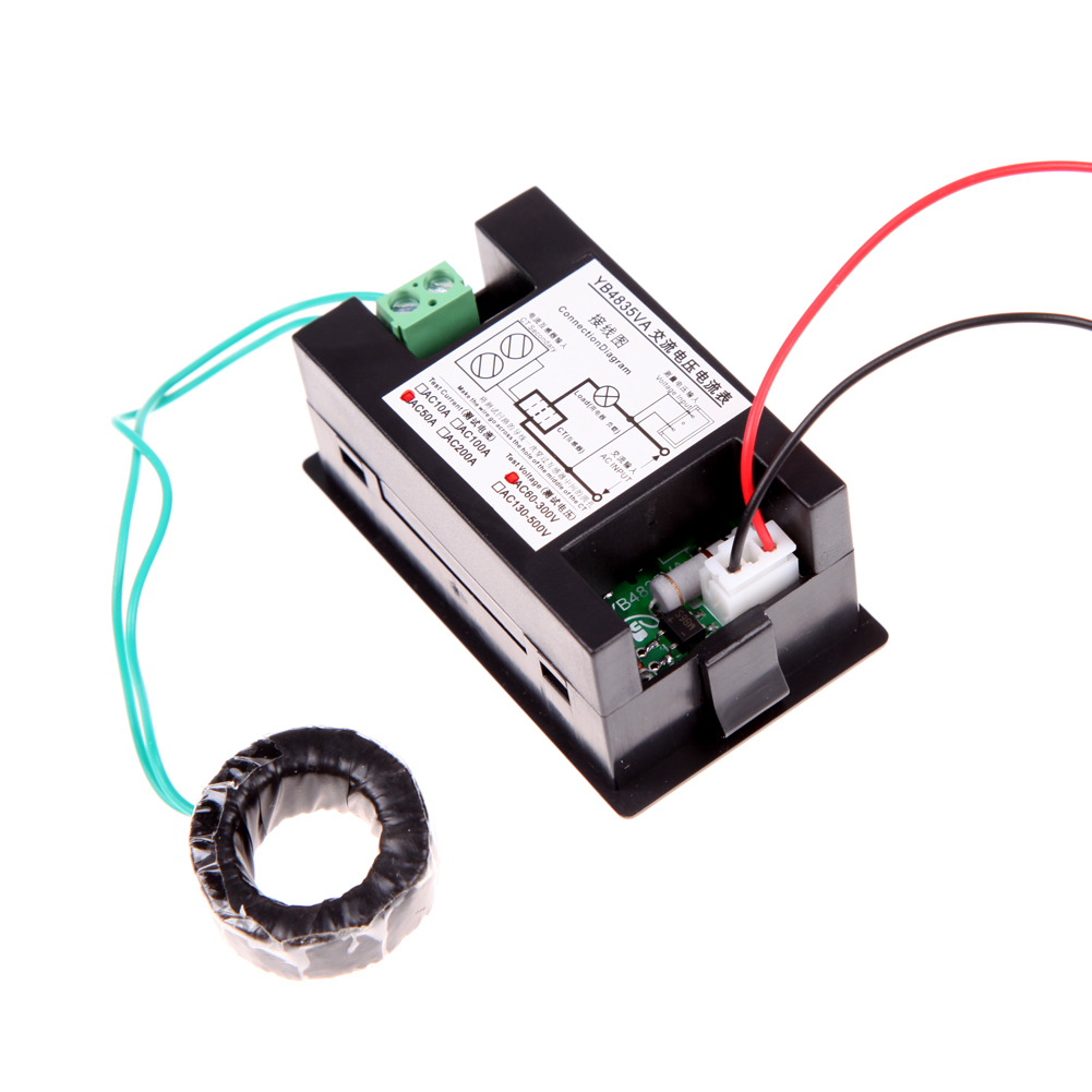 High Quality Black 300 500v 200a Ac Voltmeter Ammeter Digital Lcd Volt Amp Meter Wiring Panel Monitor With Current Transformer In Voltage Meters From Tools On