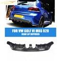 Fibra de Carbono MK6 golfe E Estilo Difusor Traseiro Lábio Preto Fit Para VW Golf VI MK6 R20 Pára 2010-2013