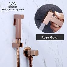 Ручной душ для биде, лейка из твердой латуни, розовое золото, квадратный унитаз, двойной медный клапан, Душевая насадка, AP2180