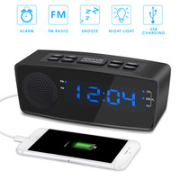 FM Alarm Radio Dimmable LED Display Clock Radio Battery Backup with USB Charging Port, Sleep Timer & Snooze Mode