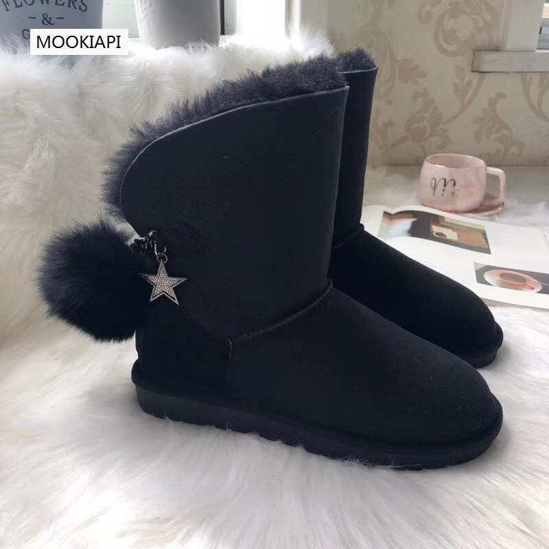 Free Delivery in 2018 the latest European leather boots 100 real sheepskin and 100 wool women