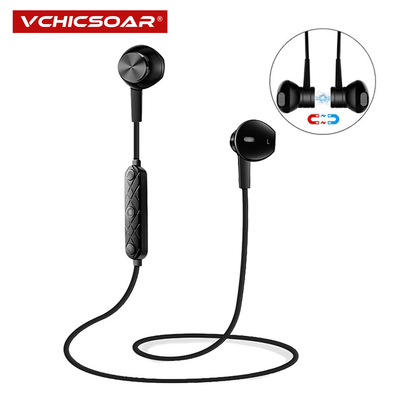 Vchicsoar i8 Sports Wireless Bluetooth Earphones V4.1 Stereo Running Headset Magnet Noise Reduction Earbuds with Mic for xiaomi elivebuy one drag two bluetooth earphones hd sound stereo bass wireless headset noise reduction running mp3 music earbuds