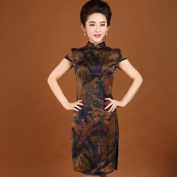 Summer New Arrival Ladies' 100% Silk Qipao Dress Chinese Women's Traditional Printed Flower Cheongsam S M L XL XXL XXXL 8057 женское платье brand new 2015 vestidos 5xl s m l xl xxl xxxl 4xl 5xl