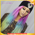 Synthetic Hair Peruca Long Straight Hot Pink Pestal Mint Green Transparent Yellow Colorful Candy Ombre Rainbow Hair Wig Cosplay