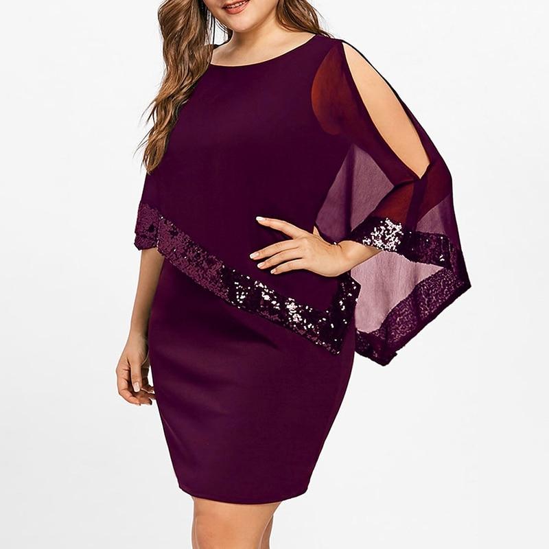 Vintage Irregular Sequin Stitching Mini Dress Elegant Women O-Neck Cloak Sleeve Party Dresses Vestidos