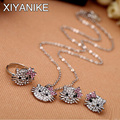 New Fashion Crystal Cat Stud Earrings Rhinestone Earrings Bowknot KT Jewelry For Girls Ring,Earring and Necklace Set