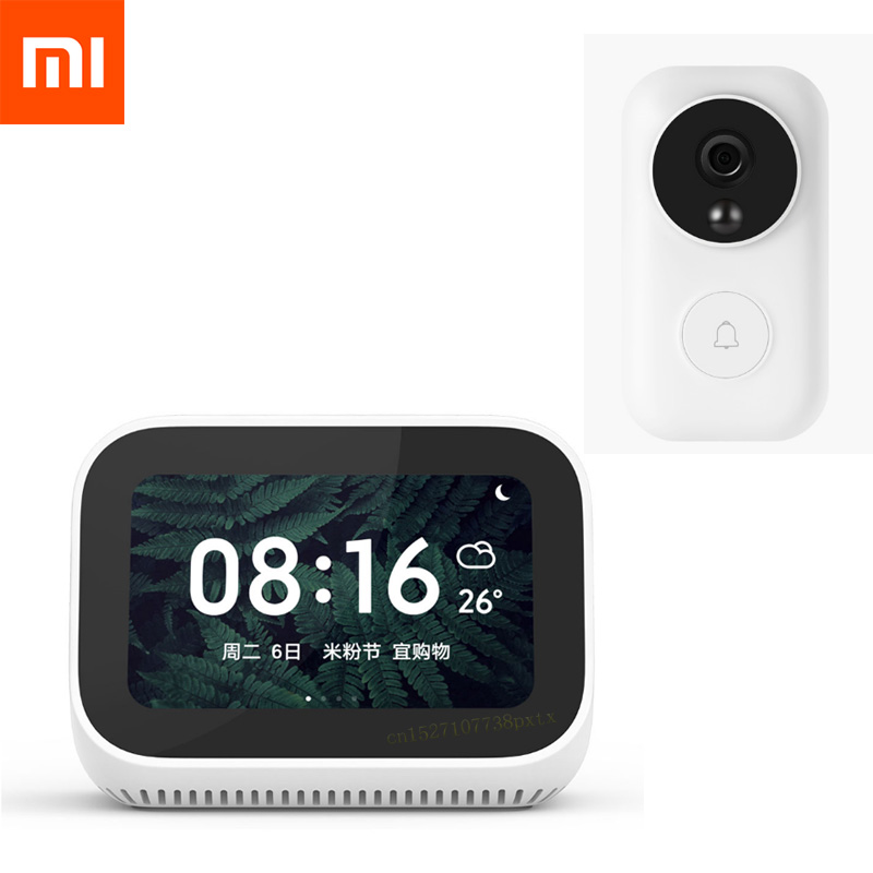 Original Xiaomi AI Mijia Touch Screen Bluetooth 5 0 Speaker Digital Display Alarm Clock WiFi Smart