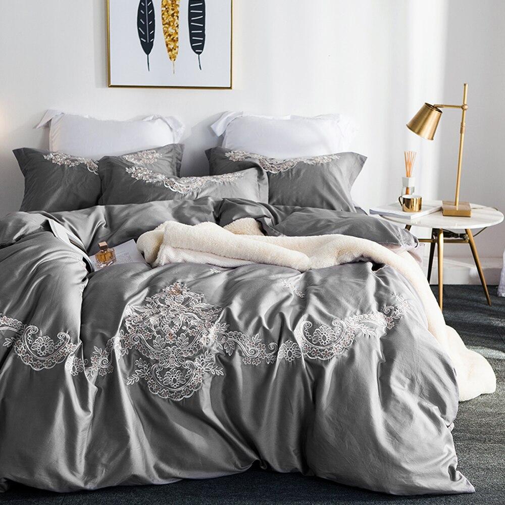 2018 Grey Luxury European Bedding Set Embroidery Bedlinens Egyptian Cotton Duvet Cover Set Queen King Pillowcases2018 Grey Luxury European Bedding Set Embroidery Bedlinens Egyptian Cotton Duvet Cover Set Queen King Pillowcases
