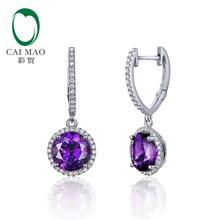 Caimao ювелирные изделия 14 K белое золото 3.28ct аметиста& 0.33ct сербги-капли с бриллиантами для дам
