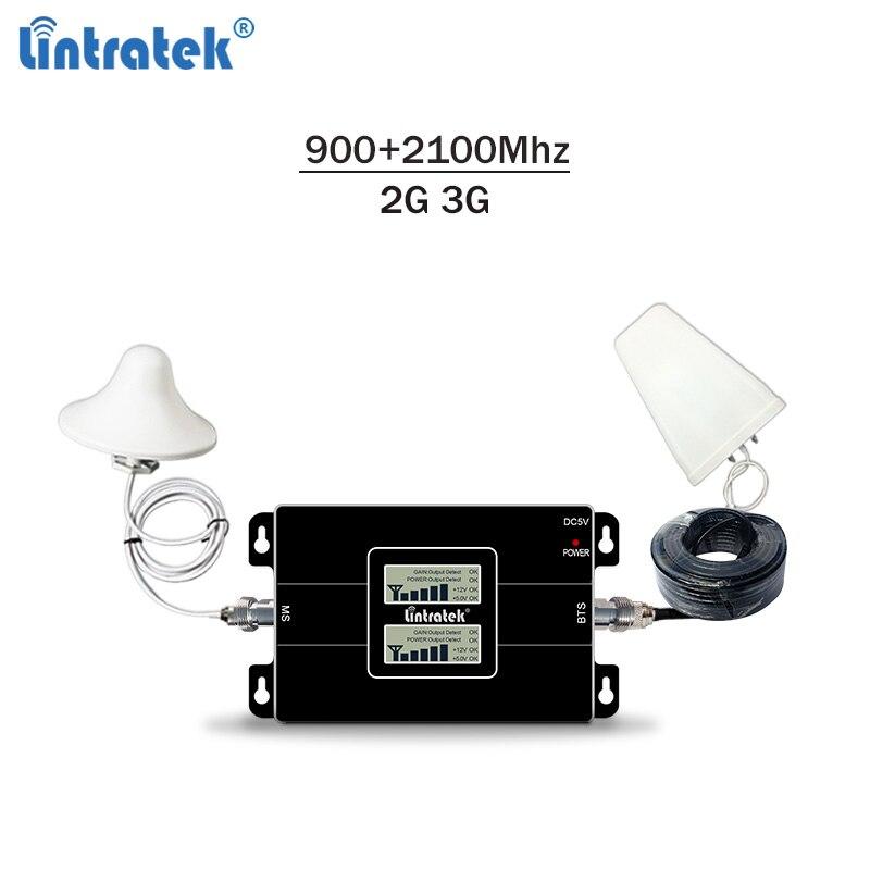 Lintratek 2G 3G Signal Booster GSM 900 3G 2100 Amplifier 2G 3G Signal Repeater GSM 3G