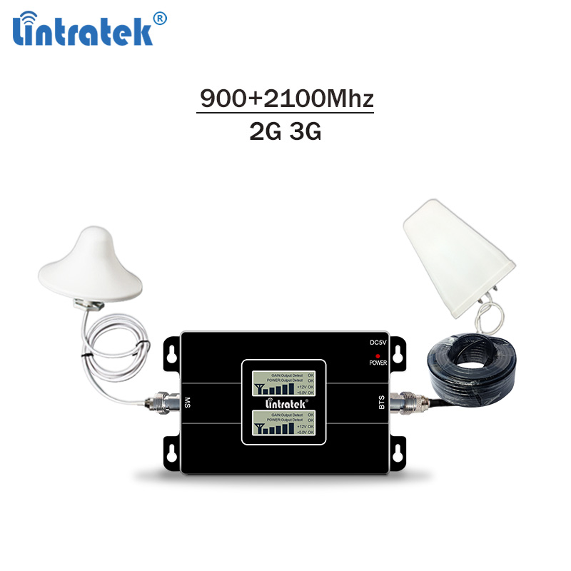 Lintratek 2G 3G Signal Booster GSM 900 3G 2100 Amplifier 2G 3G Signal Repeater GSM 3G 900 2100 Dual Band 65dB KW17L-GW #6.3