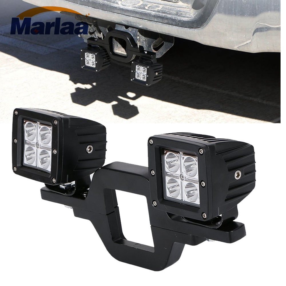 Marlaa Left & Right 2pcs 16W LED Cube Off-Road Work Lights + 1pcs Tow Hitch Mounting Bracket for Jeep Truck 4x4 Trailer RV SUV