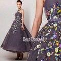 Custom Made A Linha Frisada Tulle Puffy 2015 Vestidos Sem Alças Coloridas Tornozelo Comprimento Prom Mulheres Maxi Vestidos de Celebridades