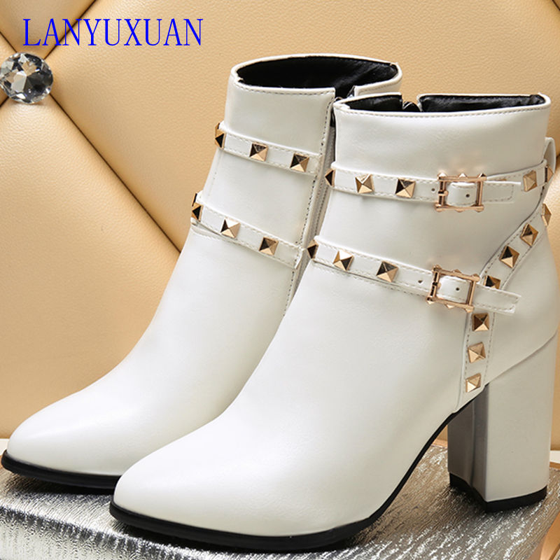 2017 Winter Boots Big Size 34-44 Fashion Ankle Boots Vintage Brand Middle Heel Spring Shoes Autumn Winter For Women Snow 6-31