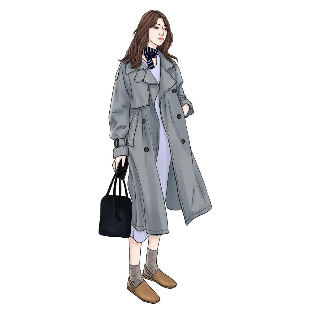 Abrigos printemps automne 2018 mode coréenne Double boutonnage mi-long Trench Coat Mujer lâche ceinture grande taille coupe-vent Outwear - 3