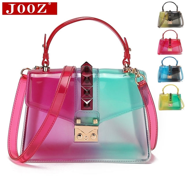 Clear Transparent saddle Bag Women Fashion rivet Jelly Bags Purse Panelled Color women Handbags sac a main femme Shoulder Bag