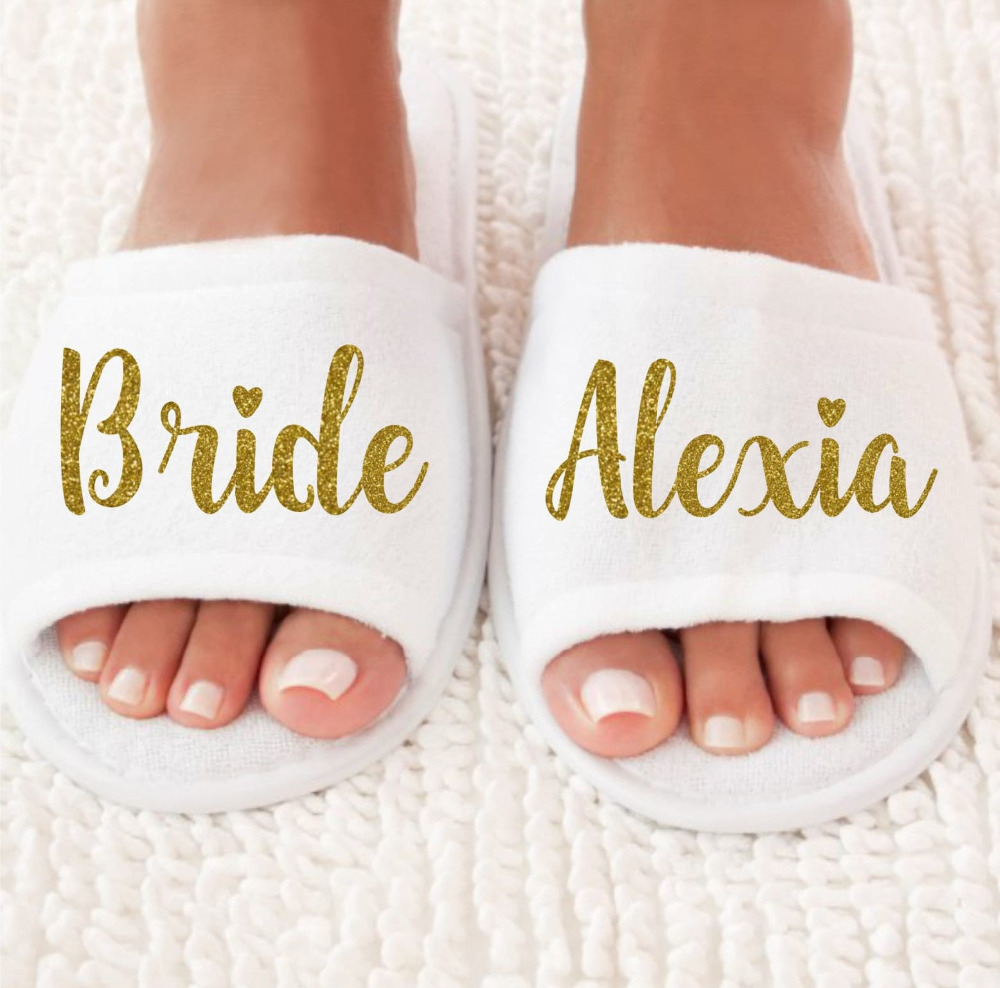 personalized Wedding Slippers,wedding Bride&Bridesmaid name Slippers ...