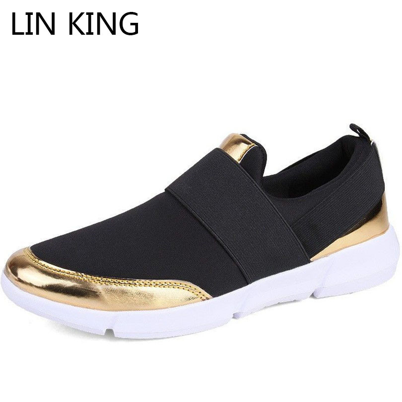 LIN KING Breathable Women Summer Shoes Slip On Lady Casual Sneakers Ultralight Flats Loafers Shoes Zapatos Mujer Plus Size 35-42 women flats slip on casual shoes 2017 summer fashion new comfortable flat shoes woman loafers zapatos mujer plus size 35 42