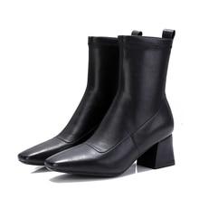 Vangull Women Boots Woman short boots fashion Handmade Classic pointed toe Martin Square head microfiber stretch