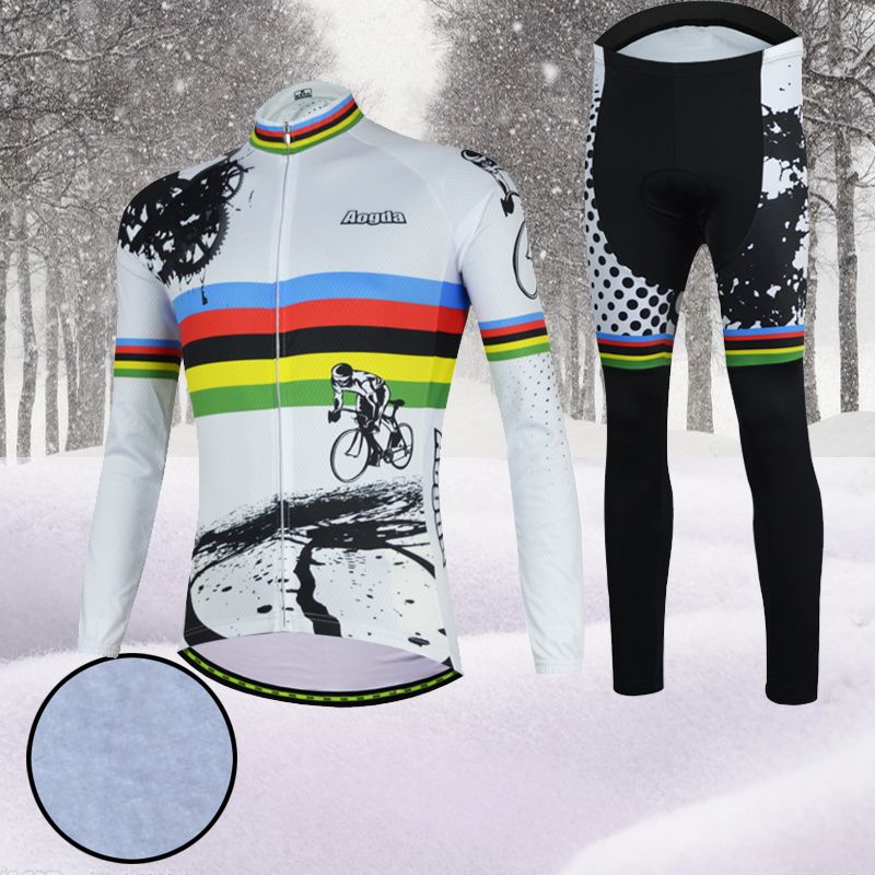 Aogda 2018 Winter Cycling Clothing Thermal Fleece Long Sleeve Cycling Jersey Set Men Bike Bicycle Clothes