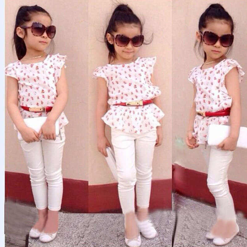 Trendy 3Pcs Baby Girls Short Sleeve T-shirt+Pants+Belt Set Clothes Kids Summer Outfits