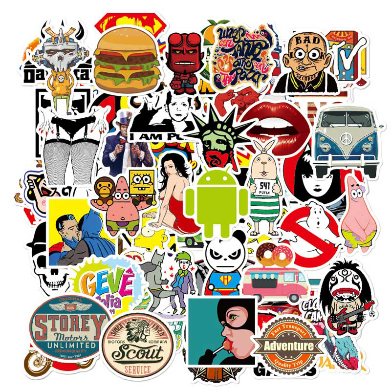 Laptop Stickers Kids Diy Cute Toy Stickers On Car Skateboard Vinyl Decals Sun Protection 50pcs Personality Graffiti Sticker