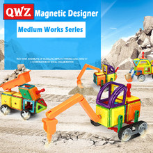 QWZ 3 Style Medium Size Magnetic Blocks Magnetic Designer Construction 3D Model Magnetic Blocks Educational Toys For Children(China)