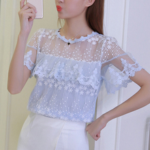 Купить с кэшбэком 2017 Summer Women sexy White Elegant Lace Blouse Femme lace Shirts Tops Short Sleeve Blusas Feminina Hollow Out Blouses 608H