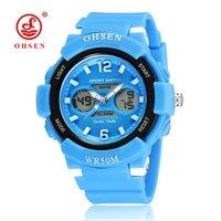 OHSEN Fashion Brand Digital Kids Girls Wristwatch Blue Rubber Strap Alarm Date LCD 30M Swim Children