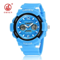 OHSEN Fashion Brand Digital Kids Girls Wristwatch Blue Rubber Strap Alarm Date LCD 30M Swim Children