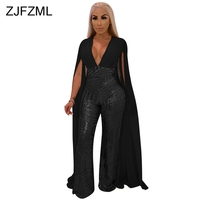 Cape Split Extra Long Sleeve Sequins Jumpsuit Women Backless V Neck Night Club Party Romper Sexy See Through Bandage Body Femme