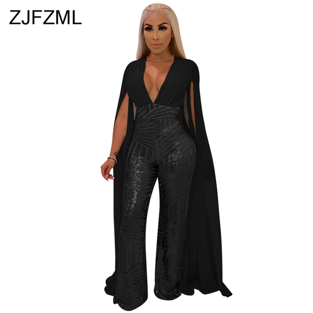 6083c38c98d8b Cape Split Extra Long Sleeve Sequins Jumpsuit Women Backless V Neck Night  Club Party Romper Sexy