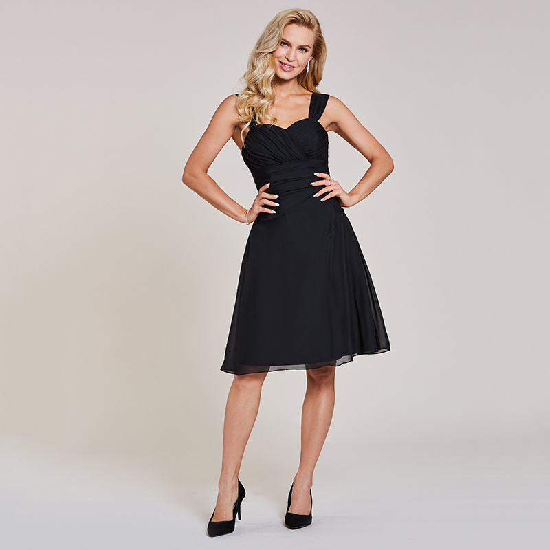 Tanpell straps short cocktail dress sexy black sleeveless knee length a line gown women homecoming party formal cocktail dresses