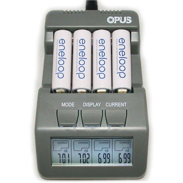 Diseño especial Opus BT-C700 NiCd NiMh con pantalla LCD Digital inteligente de 4 ranuras cargador de batería gris enchufe de la ue ee.uu. Plug cargador