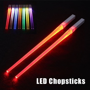 Creative 1 Pair LED Lightsaber Chopsticks Light Up Durable Lightweight Kitchen Dinning Room Party Portable Food Safe Tableware