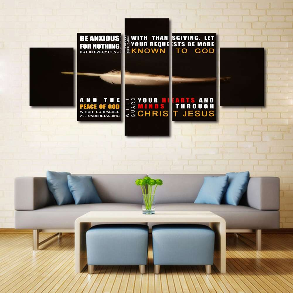 Hd printed painting 5p philippians 46 7 8 do not be anxious for nothing bible verse on multi panel canvas wall art