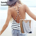 Casual Stripe Tank Top Women Soft Cotton V-neck Sexy Strappy Cross Back Summer Hot Beach Tank Tops 2016 Summer Style Cheap 003